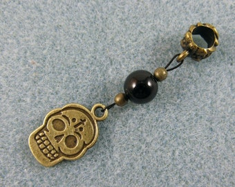 Dreadlock charm dangle with skull and black bead