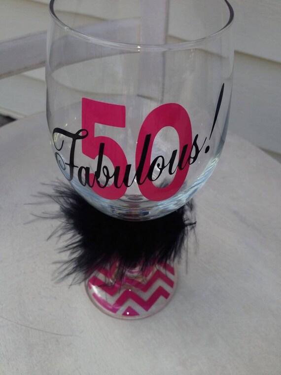 50th Birthday Birthday Wine Glass 50th By Monogramrevolution