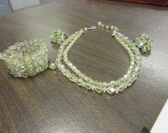 Awesome Yellow Crystal Necklace Bracelet Earrings  Jewelry Set