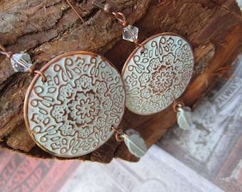 large Coin Filigree, Boho, Baby blue and Copper Feather Earrings