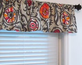 MADE to ORDER Suzani Vine Twill Sherbet Curtain Valance Window Topper