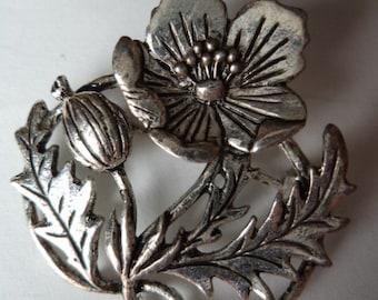 Vintage Signed MASJ Silver pewter Large Poppy Brooch/Pin