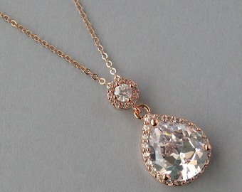 Cubic Zirconia Rose Gold Plated Necklace, Bridal Necklace, Rose Gold Plated Necklace, Bridesmaids Gift, Crystal Pendant,Pink Necklace- DK576