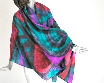 Hand Painted Silk, Unique Fabric, Hand Dyed Silk, Silk Shawl, Multicolor Silk, Habotai, Red Fuchsia Emerald Black, One of a Kind, Jossiani