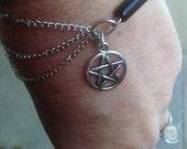 Half Sweet Black Onyx Silver Pentagram bracelete