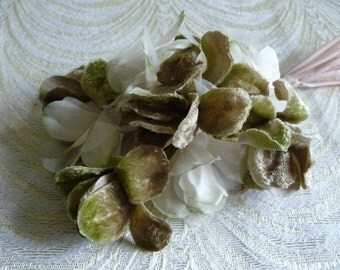 Millinery Flower Spray Velvet Silk Ivory Moss Green Taupe Bouquet on Stems for Weddings Hats, Corsage 1FN0019G