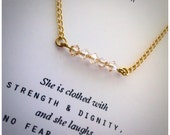 She is clothed with strength and dignitySwarovski crystal necklace...Proverbs 31:25  Gift for her, encouraging gift