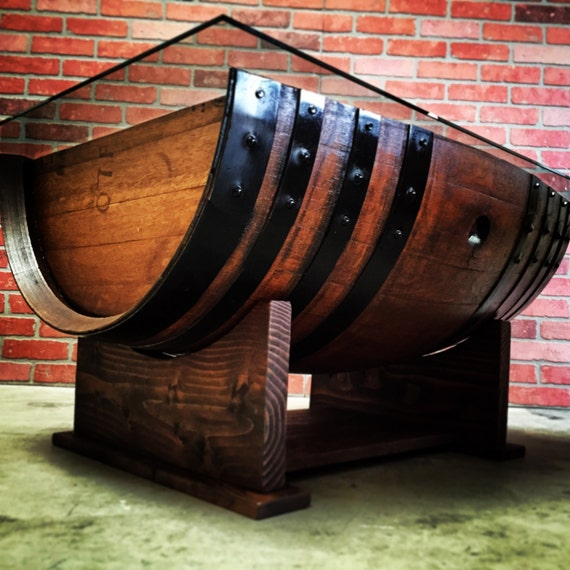 Wine Barrel Coffee Table Created from Aged Oak Wine Barrel Glass Not Inlcuded