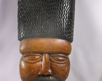 African carving Of A  Man With Affro Hair Large Mid Century .epsteam