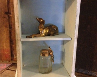 COUNTRY FRENCH SHELF Wooden, whitewashed with pale blue shelves