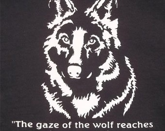 3XL Gaze Into The Eyes Of A Wolf Crew T-Shirt Choice Shirt and Ink of Colors
