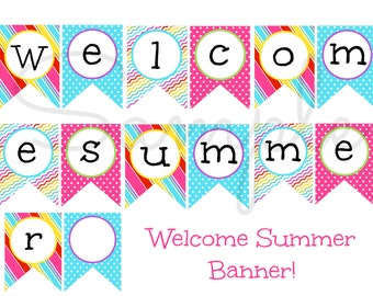 INSTANT Download Welcome SUMMER Vacation Banner PRINTABLE Download - Fun Party diy