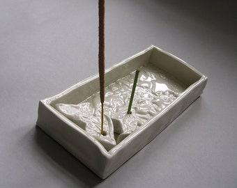 porcelain white exotic flower incense holder
