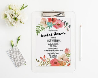 Bridal Shower Invitation - Watercolor Flower - Digital