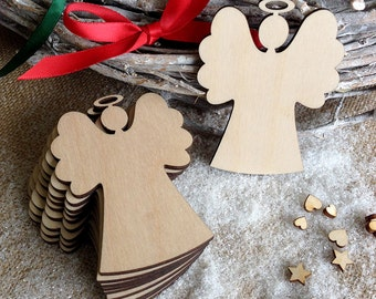 Wooden Angel Christmas Decoration ,Christmas tree ornament, Gift Tags, Blank Shapes