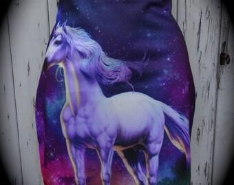 Galaxy Unicorn Mini Skirt - Size 12 14 - Bodycon Animal Mythical Nature Winter