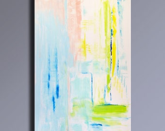 "48"" Large ORIGINAL ABSTRACT Rosa White Blue Yellow Green Painting on Canvas Contemporary Abstract Modern Art wall decor - Unstretched -APL01"