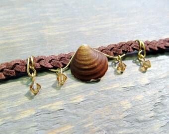 Boho Clam Shell Headband on Braided Suede Cord with Gold Swarovski Crystals - Seashell Hair Piece / Nautical / Beach