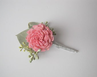 Pink Sola Flower Boutonniere - Light Pink Wedding Boutonniere - Pink Wedding - Men's Boutonniere - Prom Boutonniere - Keepsake Boutonniere