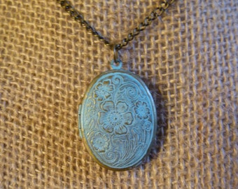 Patina locket necklace on brass chain
