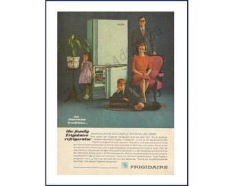 FRIGIDAIRE REFRIGERATOR Original 1962 Vintage Color Print Ad - Major Kitchen Appliance; Family Portrait Theme; Turquoise Refrigerator