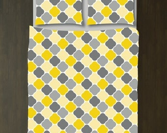 Quatrefoil Bedding Set-Duvet Cover and Shams-Yellow and Grey-Customize with ANY COLORS-Twin/Twin XL, Full/Queen, King-Size-Dorm Room Bed