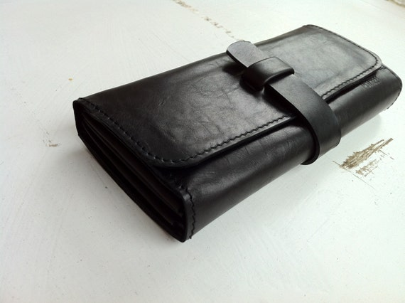 Black Leather Clutch, woman black leather wallet,Organiser, Black leather organiser, oversized ladies wallet, gift for her