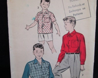 Vintage 1950's Advance Sewing Pattern BOY'S SPORTS SHIRT #7870 w/ Instructions