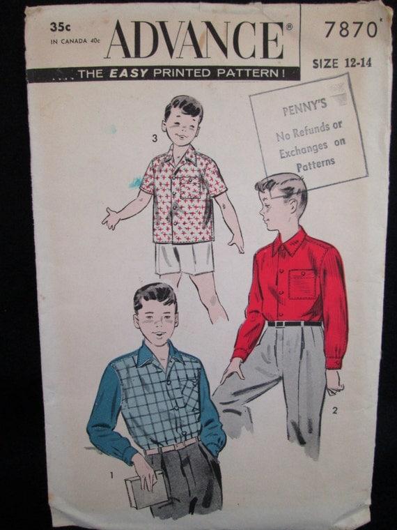 Vintage 1950's Advance Sewing Pattern BOY'S SPORTS SHIRT #7870 w/ Instructions