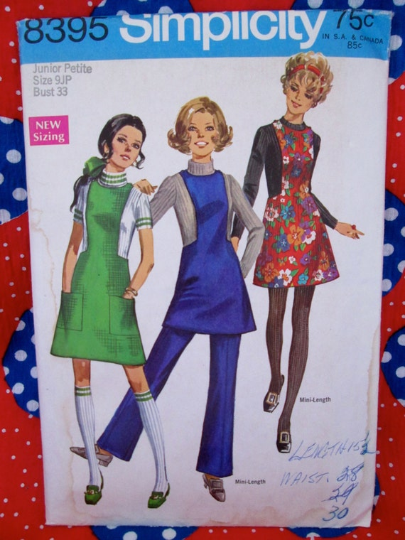 Vintage Simplicity Pattern #8395 Misses'~ Junior Petites' JUMPER in Two Lengths and PANTS 1969 Printed Sewing Pattern w/ Instructions