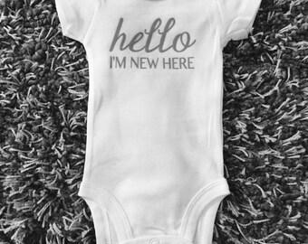 Hello I'm New Here Onesie - Infant Bodysuit, Gray