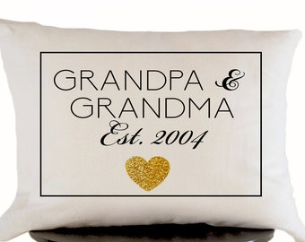 Decorative Throw Pillow Cover in White Linen with Gold Heart, Grandpa Grandma Pillow Gift, Present, Cushion Cover, 12x20 Toss Pillow Cover