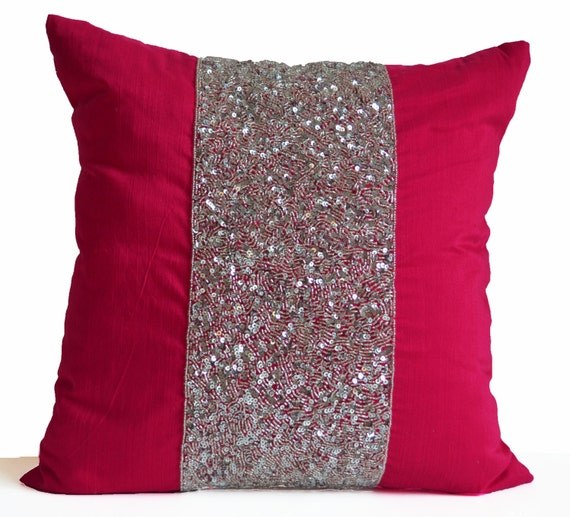 Pink Sequin Decorative Pillows : Items similar to Pink Decorative Pillow Cushion Cover Hot Pink Pillow Silver Pink Sequin Pillow ...