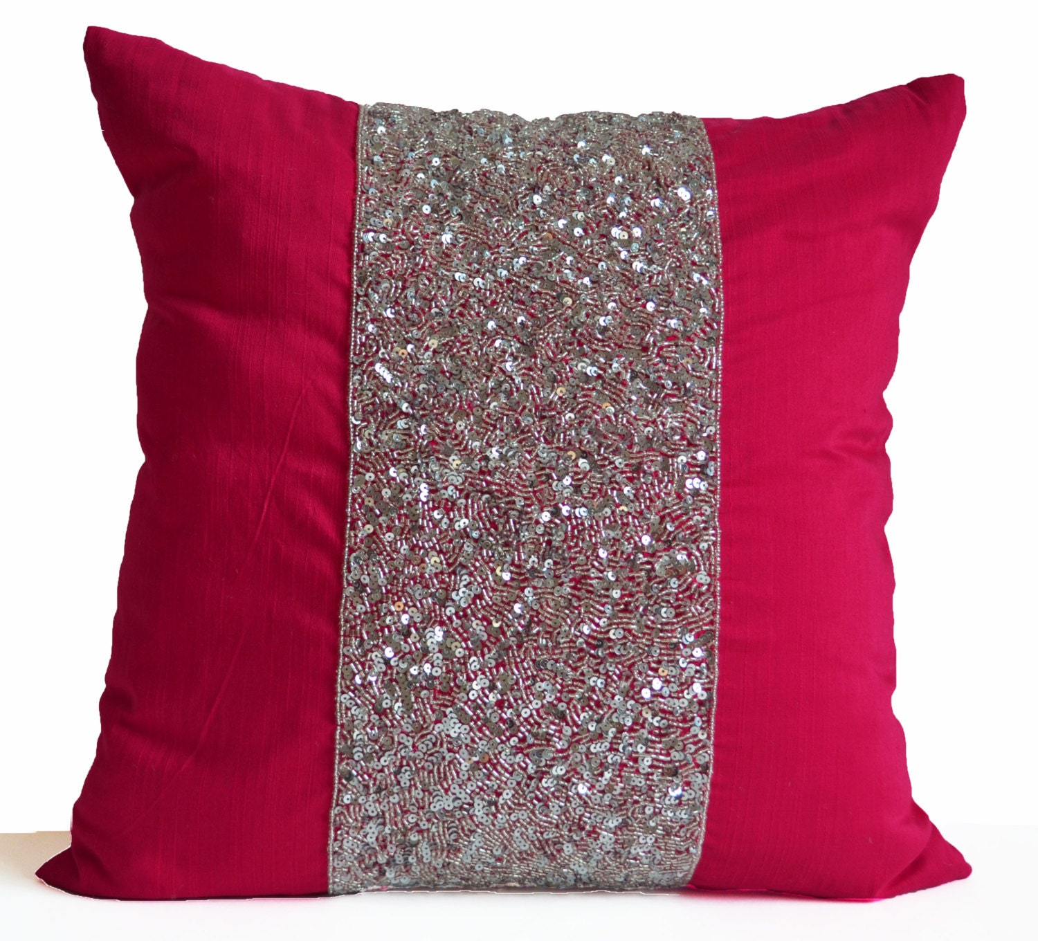 Pink Decorative Pillows : Pink Decorative Pillow Cushion Cover Hot Pink Pillow Silver