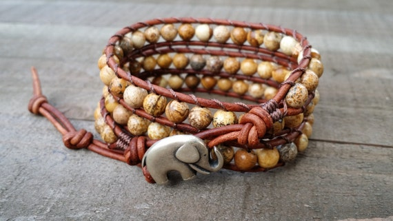 picture jasper leather wrap bracelet triple wrap chakra bracelet lucky elephant bracelet light brown leather boho bracelet