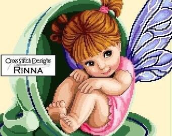 Teacup Fairy (Revised) -Cross Stitch PDF Pattern