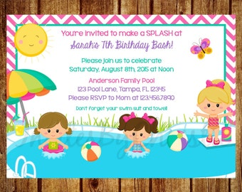 Girl Pool Party Birthday Invitation for ANY age! - Digital File - DIY Printable 1st, 2nd, 3rd, 4th, 5th, 6th, 7th