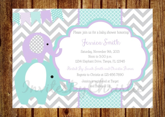 teal purple and gray elephant baby shower invitation digital file