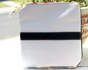 Black and White Leather Clutch with Red Zipper - White Leather Clutch -White Zipper Clutch