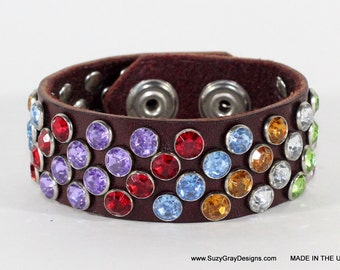 """Rainbow Leather Bracelet - Rainbow Leather Cuff - 1"""" Brown leather cuff with rainbow crystals - Handmade in the USA - Multi colored bracelet"""