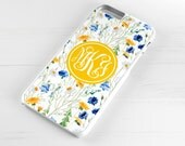 Personalised iPhone 6 Case iPhone 5c iPhone 5s iPhone 6 plus cover - monogrammed name monogram - Floral Flowers Spring Daisy - PC0005