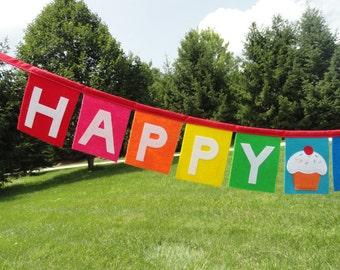 Sprinkle Cupcake Happy Birthday Banner - Felt Birthday Banner - Happy Birthday Decoration - Cupcake Birthday-Fabric Birthday Banner