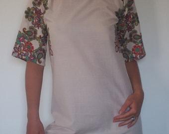 Fashion short mini cotton dress,tunic, blouse,  top or shirt