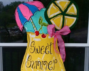 Sweet Summer burlap door hanger
