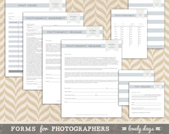 Forms for Photographer Photography Form Templates Print Release INSTANT DOWNLOAD