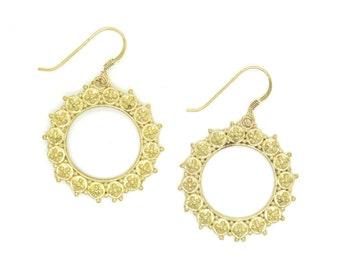 Brass Tribal Hoop Earrings, Gypsy Earrings, Indian Hoop Earrings, Ethnic Style Dangle Earrings