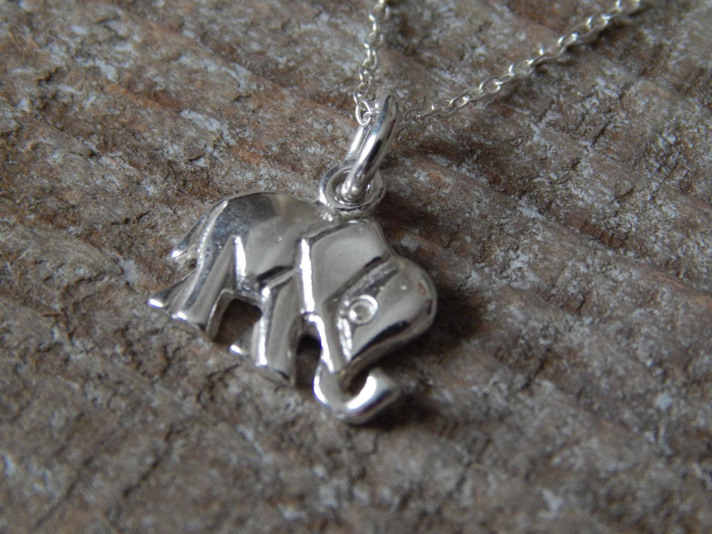 silver elephant necklace elephant charm pendant by