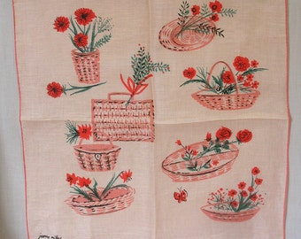 Exciting Signed Jeanne Miller Designer Hankie Pink with Pink Baskets of Pink Flowers Even a Pink Butterfly / Vintage Ladies Handkerchief
