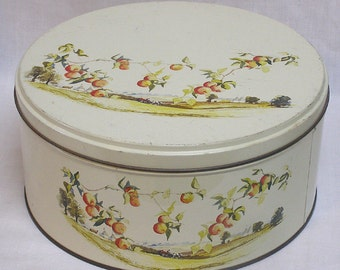 Vintage Round Decorative Tin with Golden Apples Hanging Over Rural Farm Scene / Bucolic Scene on Cookie Tin Farm and Field