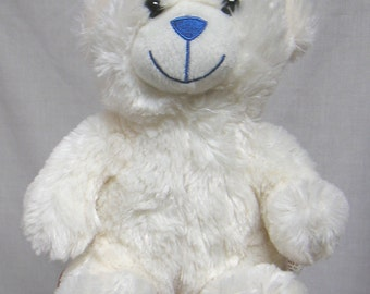 Dan Dee Collector's Choice Plush Stuffed White Bear with Blue Accents / White and Blue Bear Plushie with Tush Tag